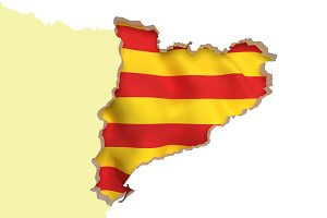 Catalonia flag and map