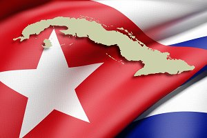 Cuba map and flag