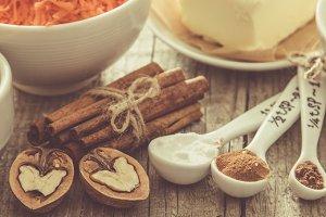 Ingredients for baking carrot cake