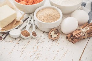 Ingredients for baking carrot cake