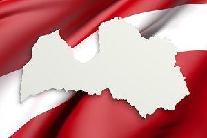 Latvia map and flag