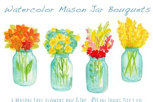 Watercolor Mason Jar Bouquets