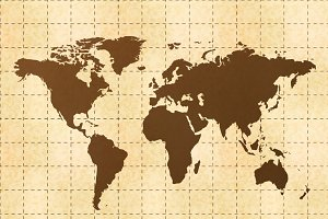 Retro world map on yellow old paper
