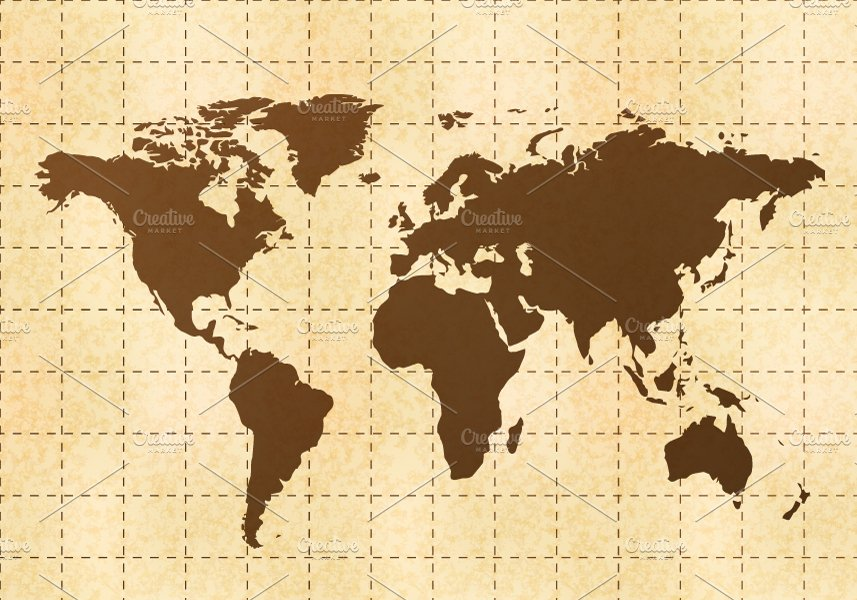Retro World Map On Yellow Old Paper Illustrations Creative Market