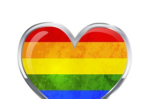 Heart shaped LGBT flag on white