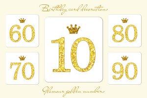 Cute golden glitter numbers