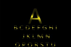 Font metallic yellow transparent