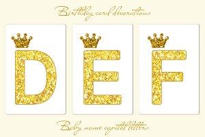 Cute golden glitter letters