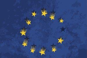 European flag with falling stars