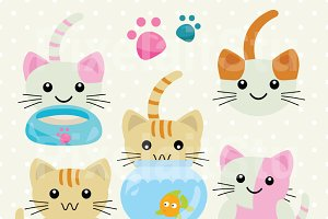 Cute Kawaii Kittens Clip Art