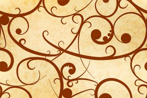 Brown baroque swirls on old paper