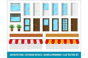 Architectural details for house exterior doors windows