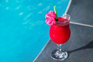 Water melon red fresh juice smoothie drink cocktail swimming pool