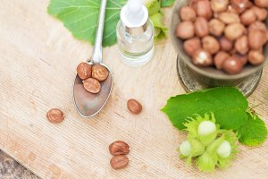 Lot of different chocolate, hazelnuts ingredients and oil in nature