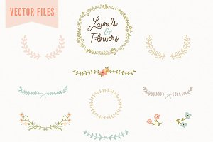 Laurel & Flowers Vintage Vector