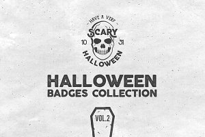 Halloween Badges Set. Vol.2