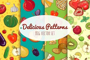 35vector seamless patterns with food