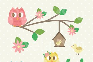 Summer Owls Clip Art
