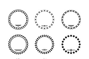 Set icons of laurel wreath