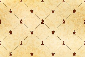 Brown chess icons on old paper