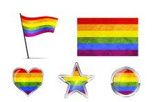 Big set of LGBT symbols and icons