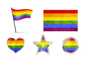 Big set of LGBT symbols and icons