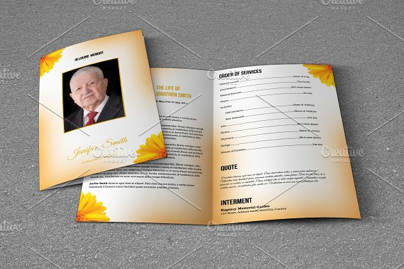 Printable Funeral TemplateT Brochure Templates Creative Market - Funeral brochure template