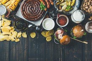 Variety of beers, sausages, burgers
