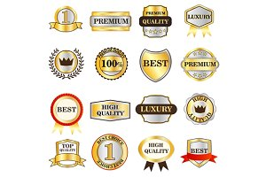 Luxury golden labels icons set