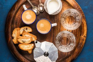 Coffee espresso, cantucci & cookies