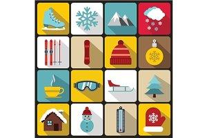 Winter icons set, flat style