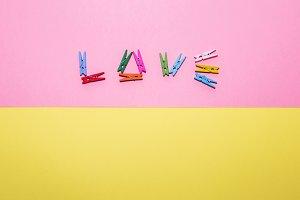 in shape of word LOVE