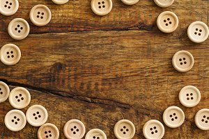 Collection of wooden buttons