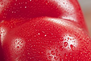 Red Paprika with water drops