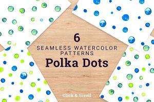 6 Watercolor Polka Dots Pattern