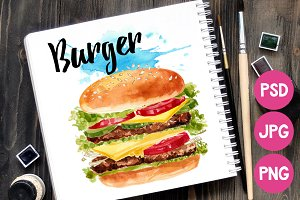 Fast food. Burger watercolor