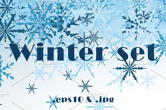 Winter set with tracery snowflakes  - Illustrations