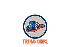 Fireman Emergency Fire Rescue Logo