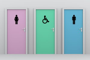 Handicapped, men and women toilet