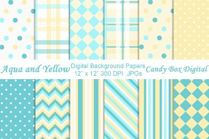 Aqua and Yellow Digital Papers