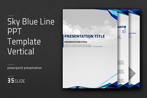 Sky Blue Line PPT Template Vertical