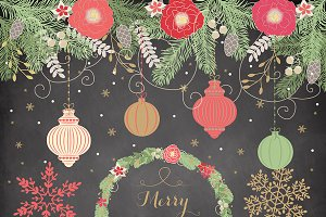 Vintage chalk christmas color