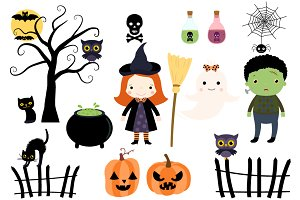 Halloween Kids in Costumes Clipart