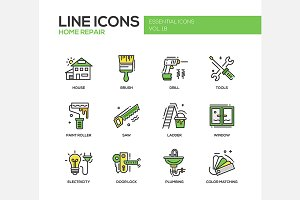 Home Repair - Line Icons Set