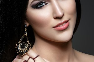 Beautiful girl with arabic makeup