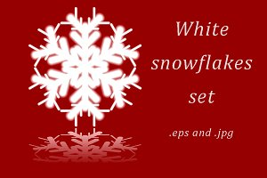 Set of snowflakes on red background