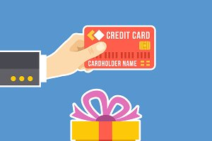 Hand with Credit Card, Hand and Gift