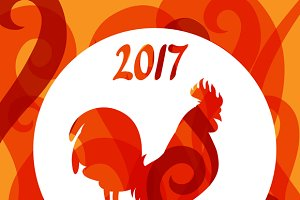 Cards with rooster symbol of 2017.