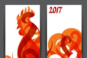 Banners with rooster symbol of 2017.
