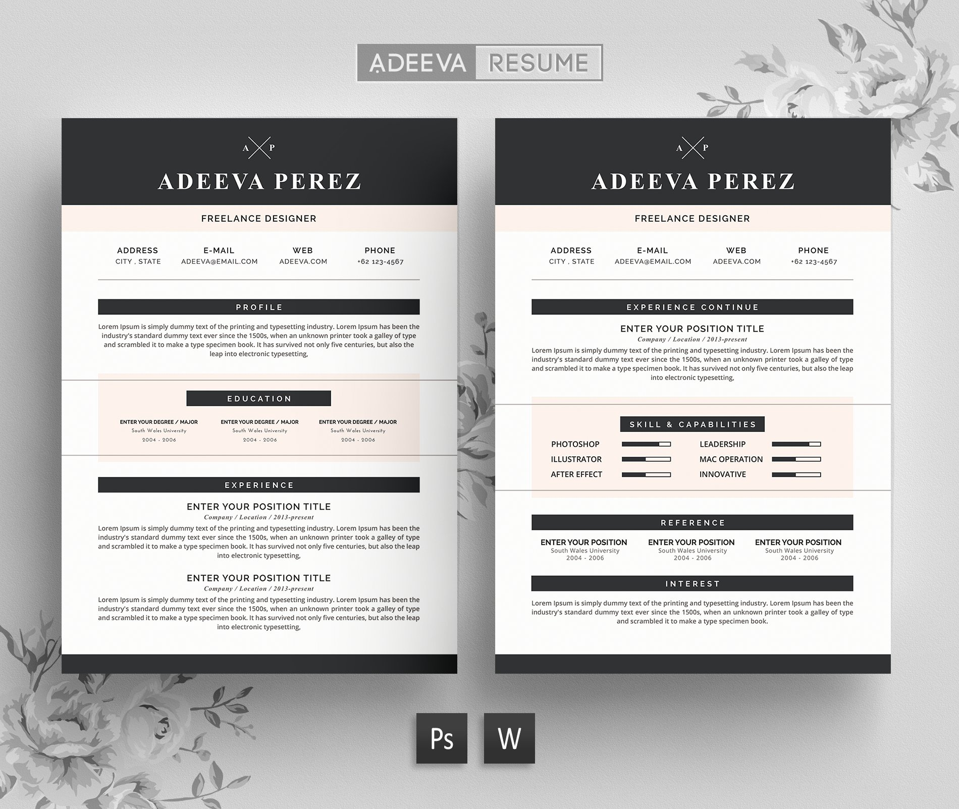 Resume templates modern free simple resume template free clean modern resume template perez resume templates creative market yelopaper Gallery